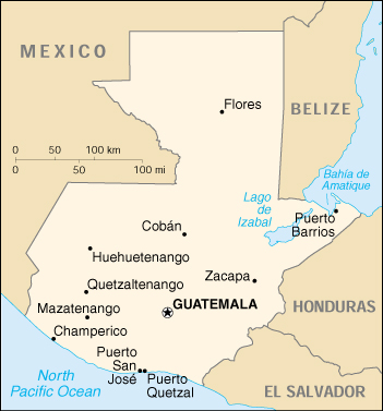 Guatemala CIA Map, Official Map of Guatemala