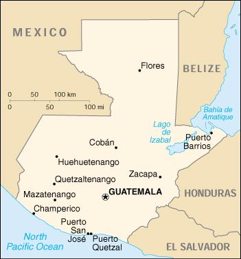 Guatemala CIA Map, Official Map of Guatemala