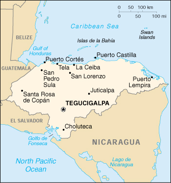 Honduras CIA Map, Official Map of Honduras