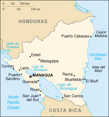 Nicaragua CIA Map, Central American Countries