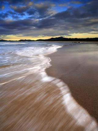 Seascape of Tamarindo Beach, Costa Rica Showing the Motion of Waves over the Sandy Shore