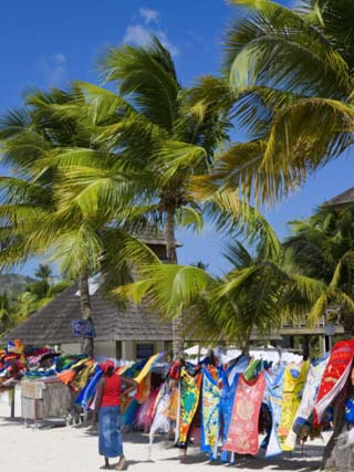 Colourful Designs for Sale Along Jolly Beach, Antigua, Leeward Islands, West Indies, Caribbean