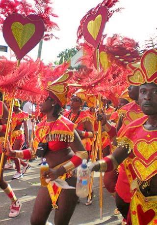 antigua carnival revellers
