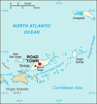 British Virgin Islands latitude and longitude map