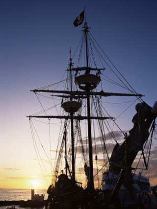 Pirate Ship in Hog Sty Bay, During Pirates' Week Celebrations, George Town, Cayman Islands