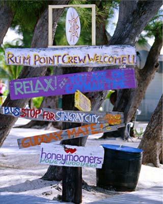 Fun Signpost at Run Point, Cayman Islands