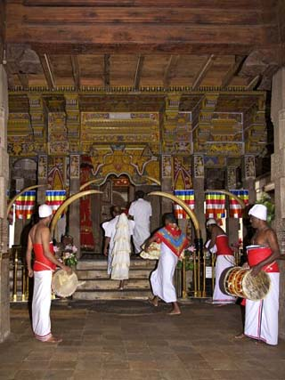 Drummers Inside Temple of Tooth Relic, UNESCO World Heritage Site, Kandy, Sri Lanka