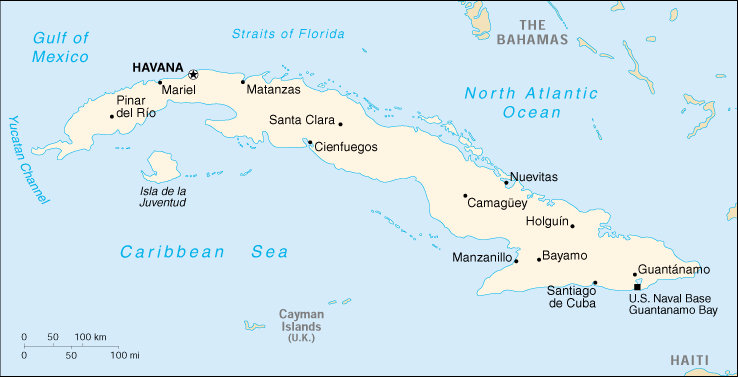 Clean image throughout printable map of cuba