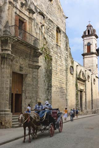 Horse Carriage Passes by Cathedral of Havana in the Historic Center, Havana, Cuba