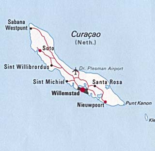 Curacao latitude and longitude map