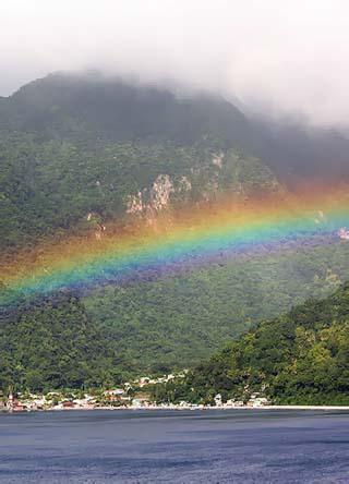 rainbow across Soufrière Bay