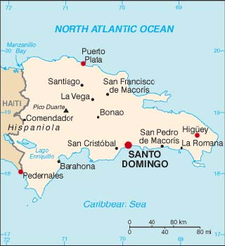 Dominican Republic latitude and longitude map
