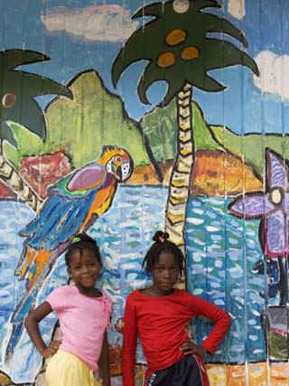 Girls in Front of Mural, Paradise Beach, Carriacou and Petit Martinique, Grenada