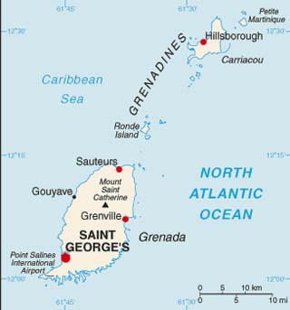 Grenada latitude and longitude map