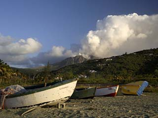 Old Road Bay Beach and Volcano, Montserrat, Leeward Islands, Caribbean, Central America