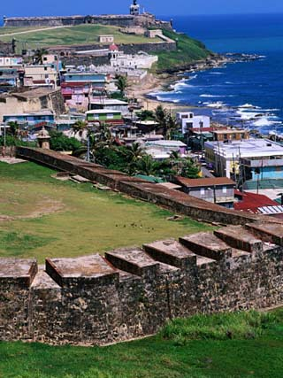 Castillo San Felipe Del Morro Overlooking Coastline, San Juan, Puerto Rico