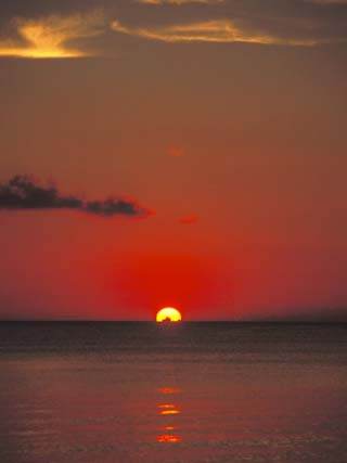 Red Orange Sunset on Horizon of Caribbean Sky