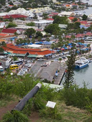View of Marigot City from Fort St. Louis, St. Martin Island, French Antilles, West Indies