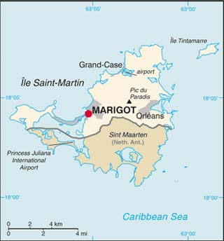 Saint Martin latitude and longitude map