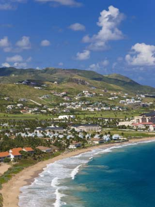 Elevated View over Frigate Bay and Frigate Beach North, St. Kitts, Leeward Islands, West Indies