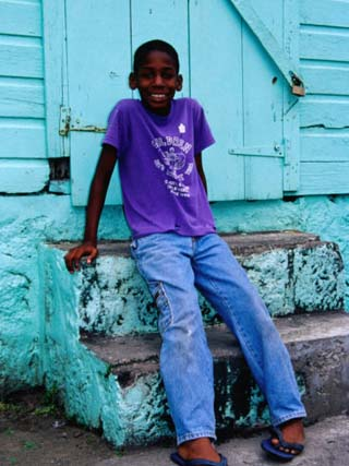 Portrait of Young Boy on Steps, Basseterre, St. Kitts & Nevis
