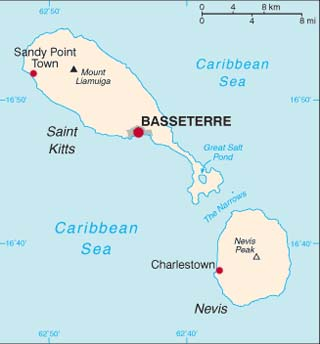 St Kitts and Nevis latitude and longitude map