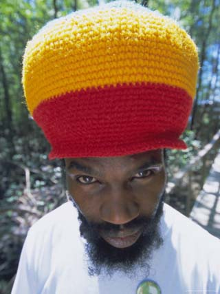 Portrait of a Man in a Colourful Hat, St. Lucia, Windward Islands, West Indies, Caribbean