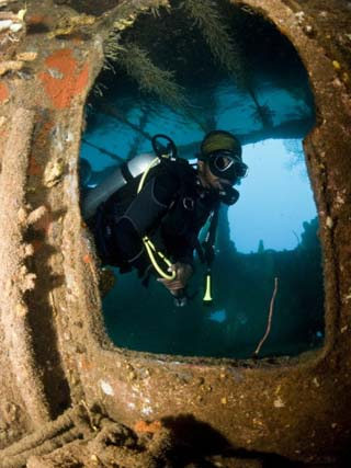 Diver Inside Wreck of Lesleen M Freighter, Sunk in 1985 in Anse Cochon Bay, St Lucia