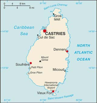 St Lucia latitude and longitude map