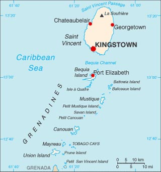 St Vincent and the Grenadines latitude and longitude map