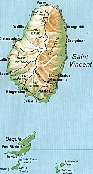 St. Vincent und die Grenadinen Orographie Karte
