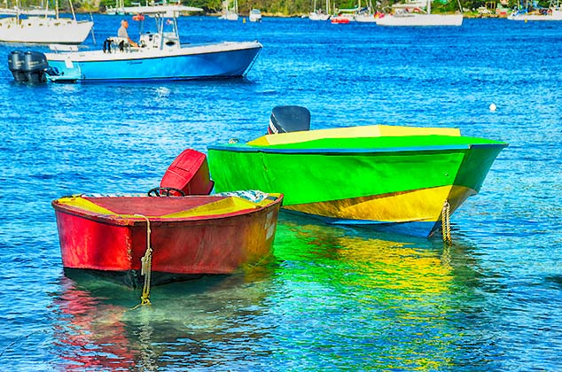 colorful boats bequia