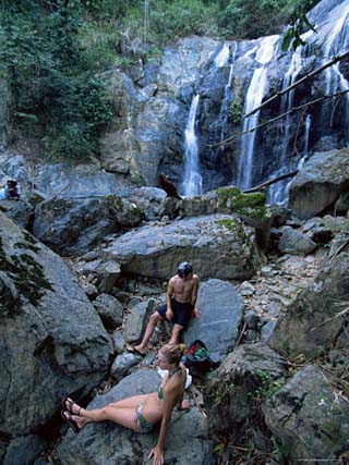Couple at Argyle Waterfall, Tobago, West Indies, Caribbean, Central America