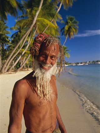 Portrait of a Rasta Man at Pigeon Point, Tobago, Trinidad and Tobago, West Indies, Caribbean