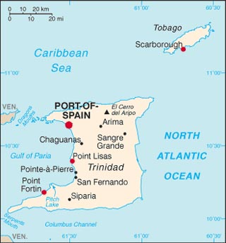 Trinidad and Tobago latitude and longitude map