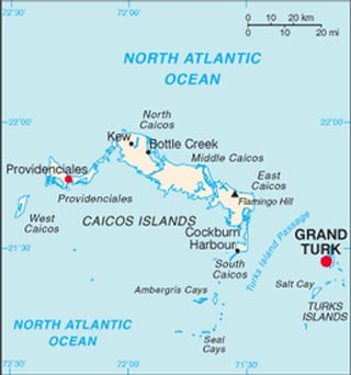 Turks and Caicos latitude and longitude map