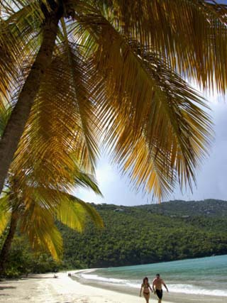Couple Walking on Beach, Magens Bay, St. Thomas, Us Virgin Islands, Caribbean