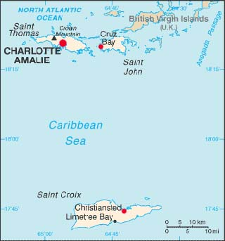 US Virgin Islands latitude and longitude map
