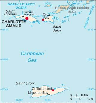 US Virgin Islands Latitude Longitude Absolute and Relative