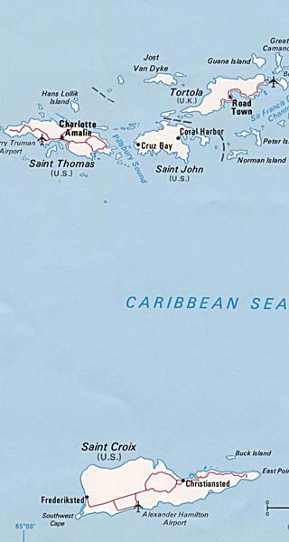 US Virgin Islands Maps Including Outline And Topographical Maps - Us virgin islands on map