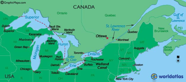 Outlined Map of Great Lakes,Canada, St.Lawrence River and United States