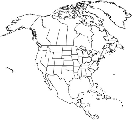 Map Of Canada And Us No Sattes - Map of us states no names