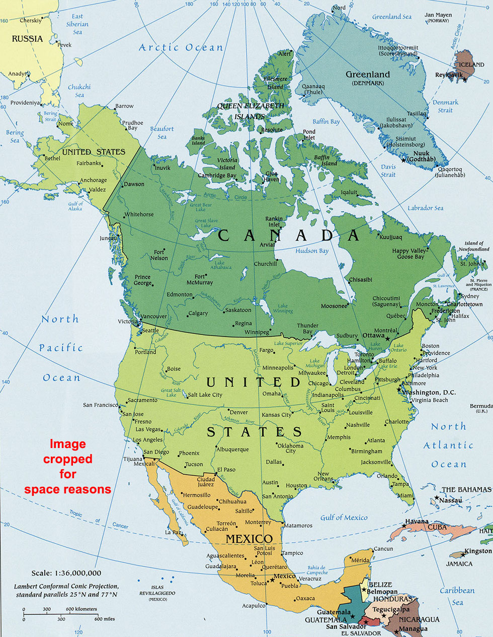 North America Political Map, Political Map of North America