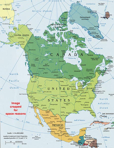 North America Map Geography Of North America Map Of North - Map of america with states