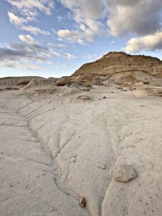 Badlands with Clouds, Dinosaur Provincial Park, UNESCO World Heritage Site, Alberta, Canada