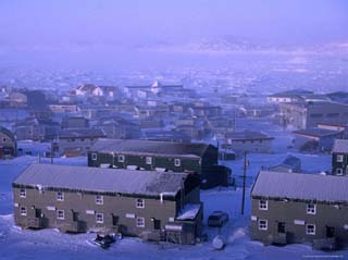 Spring Blizzard Engulfing Town, Iqaluit, Baffin Island, Nunavut, Canada