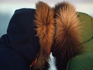 Inuit Eskimos Indulge in a Traditional Nose Touching Kiss