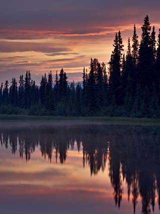 Sunset at An Unnamed Lake Near Salmo Lake, Alaska Highway, Yukon Territory, Canada, North America