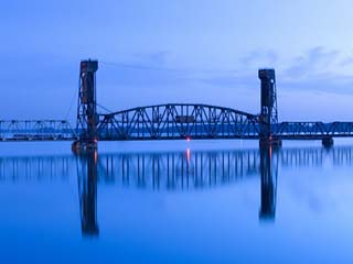 Alabama, Decatur, Old Southern Railway Bridge, Lift Bridge, Tennessee River, Dawn, Blue, USA
