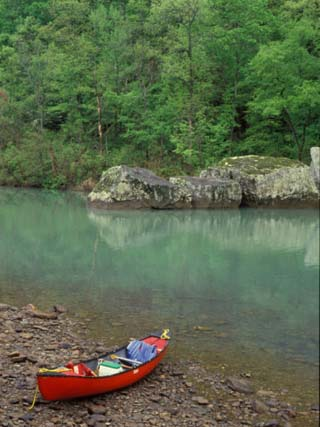 Canoe by the Big Piney River, Arkansas